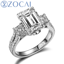 hot deal buy zocai brand trio princess cut pave 2 ct natural h / si emerald cut diamond engagement ring 18 k white gold jewlery free shipping