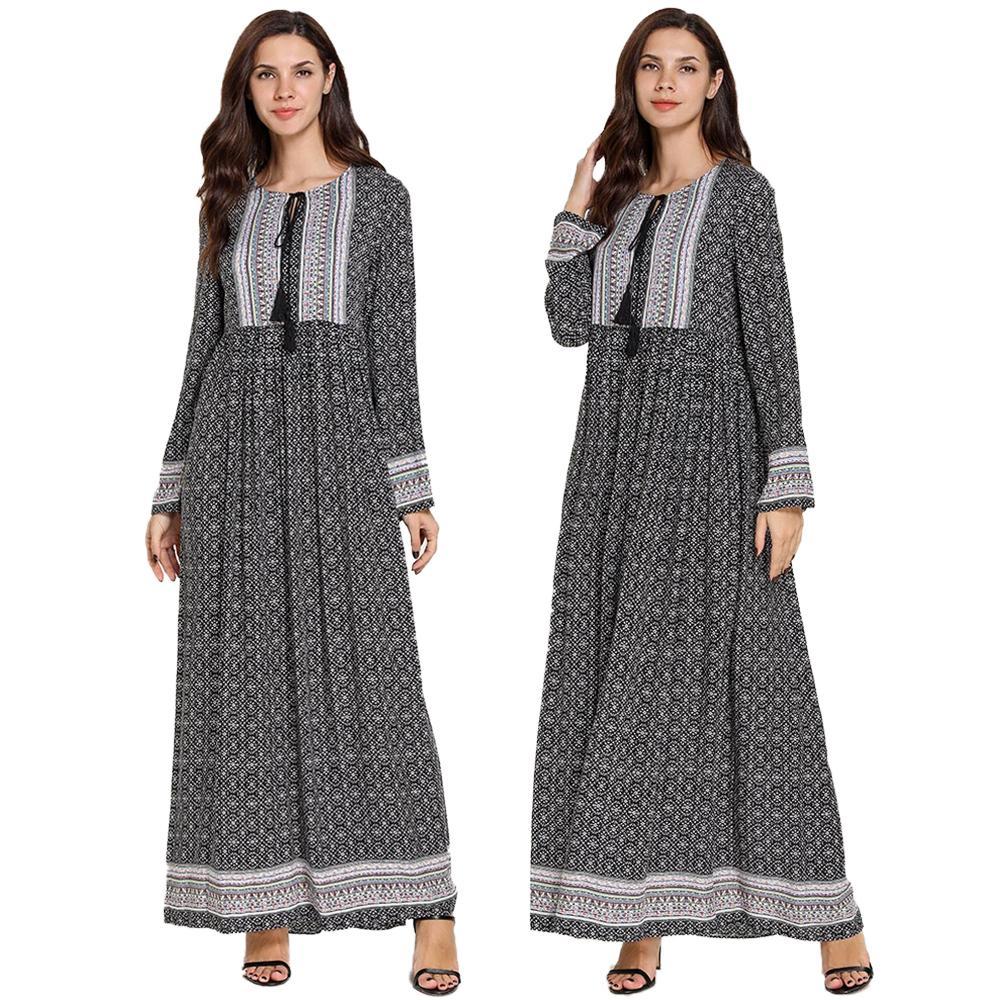 9ffe9ab9c5cc Vestido musulmán para mujer Abaya impreso fiesta Kaftan islámico largo bata  vestido étnico pavo ...