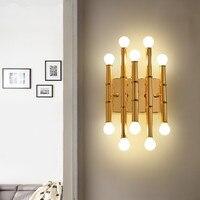 Pós-moderno ouro led lâmpadas de parede 10 lâmpada foyer arandela sala de estar quarto corredor luzes de parede arte design casa deco luminária
