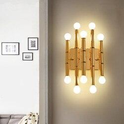 Po nowoczesne złoty lampy ścienne Led 10 żarówka przedpokój kinkiet salon sypialnia ścienne przejściach i korytarzach światła Art Design w stylu art Deco oprawy w Wewnętrzne kinkiety LED od Lampy i oświetlenie na