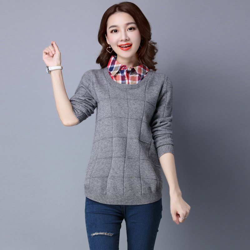 2017 New Women Cashmere Long Pullover Sweaters Fashion Solid Fake Two Piece Turn-down Collar Knitted Pullovers Women Jumper 0801