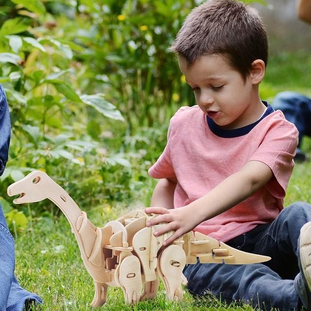 Puzzle Interactif Dinosaure 3D DIYEn Bois Jouet pour Enfants et Adultes
