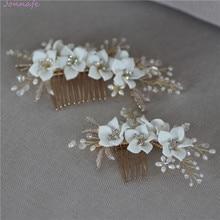 Jonnafe Delicate Porcelain Flower Wedding Hair Comb Pearls Jewelry Handmade Bridal Headpiece Women Prom Hair Accessories