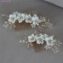 Jonnafe peineta de porcelana delicada para mujer, Joyas de perlas de pelo hecho a mano para boda, accesorios para el pelo para graduación