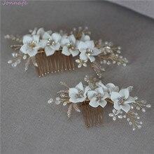 Jonnafe 繊細な磁器花の結婚式のヘア櫛真珠ジュエリー手作りブライダルヘッドピース女性ウエディングヘアアクセサリー