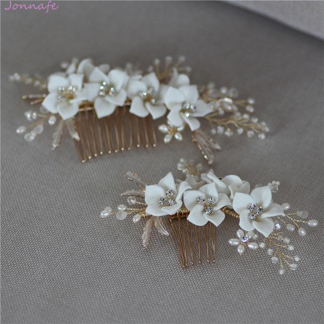 Jonnafe עדין פורצלן פרח חתונת שיער מסרק תכשיטי פנינים בעבודת יד כלה כיסוי ראש נשים לנשף שיער אבזרים