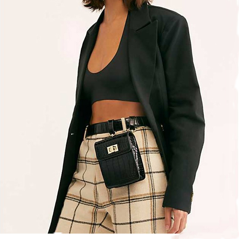 Vintage Mini Women Waist Pack Mini Alligator Fanny Pack Leather Square Waist Bag Women Singler Shoulder Bag Waist Belt Bags B134