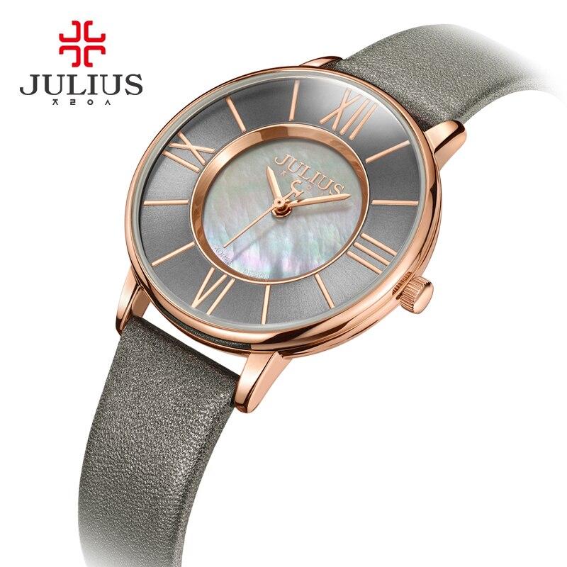 Julius Watch Women Thin Leather Wristwatch Shell dial Clock Gray RoseGold 30M Waterproof Japan Quartz Movt
