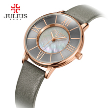 Julius Watch Women Thin Leather Wristwatch Shell dial Clock Gray RoseGold 30M Waterproof Japan Quartz Movt Stainless back JA-961