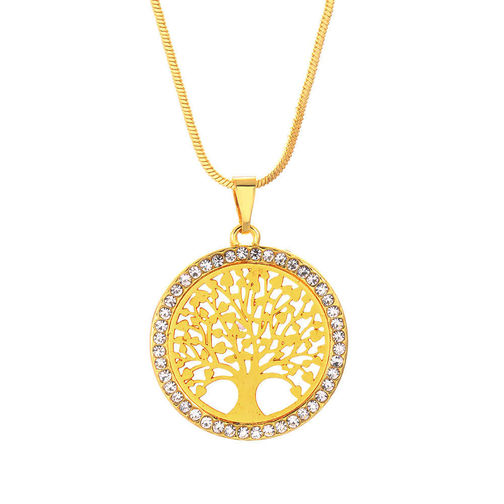 Tree of Life คริสตัลรอบจี้สร้อยคอเงินสี Bijoux Collier Elegant ผู้หญิงเครื่องประดับของขวัญ Dropshipping