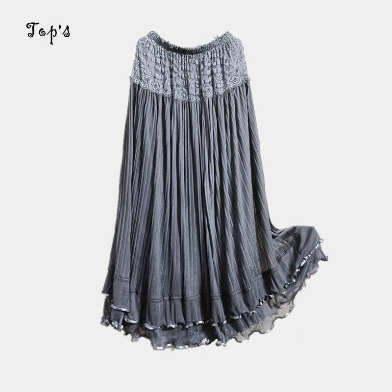 e2b145486b Hot 2016 Summer Long Design Lace Skirt Tulle Skirts Gauze Expansion ...