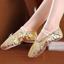 Women Children Practice Performance Cow Leather Bottom Dancing Shoes Lady Adult Soft Ballet Dance Shoes Golden Silver SH685