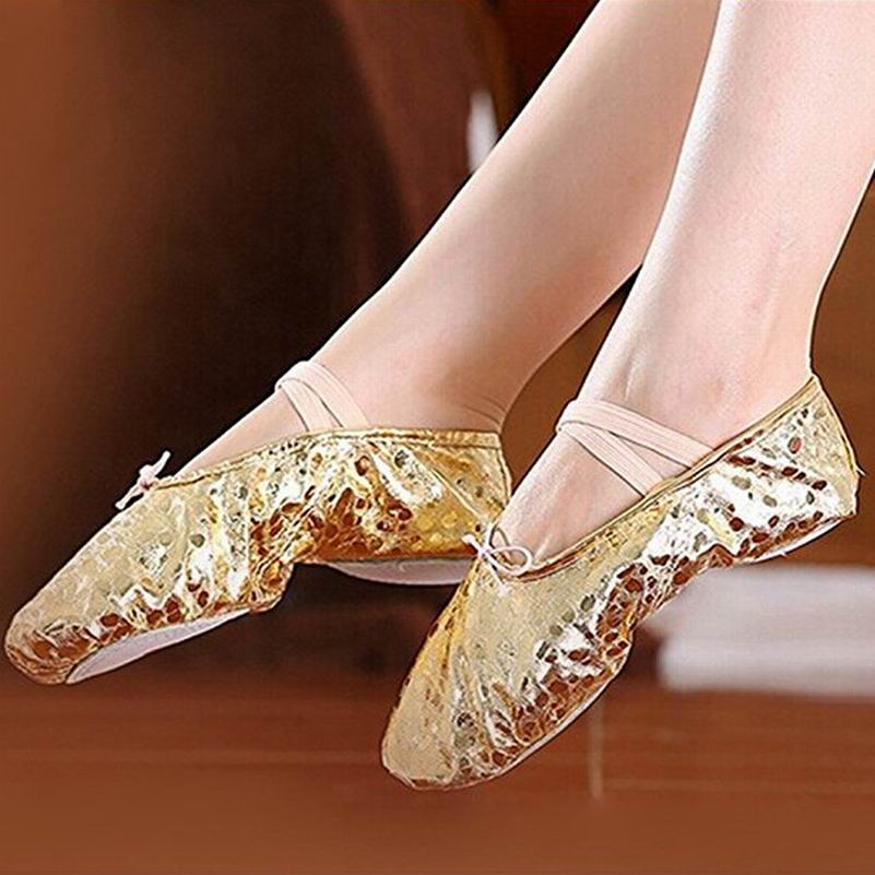 Women Children Practice Performance Cow Leather Bottom Dancing Shoes Lady Adult Soft Ballet Dance Shoes Golden