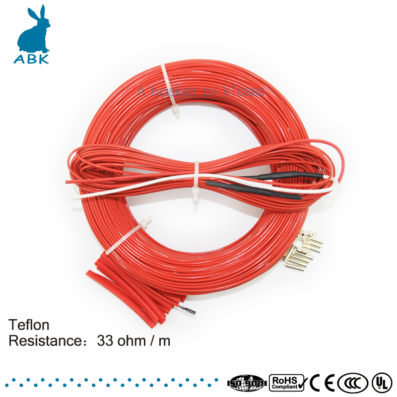 F12K 110meters 33ohm Teflon PTFE Carbon fiber heating wire Heating cable High quality and low cost Infrared heating wire 14x16mm ptfe teflon tubing pipe id14mm od16mm 600v high quality brand new wire protection f46 1 meter