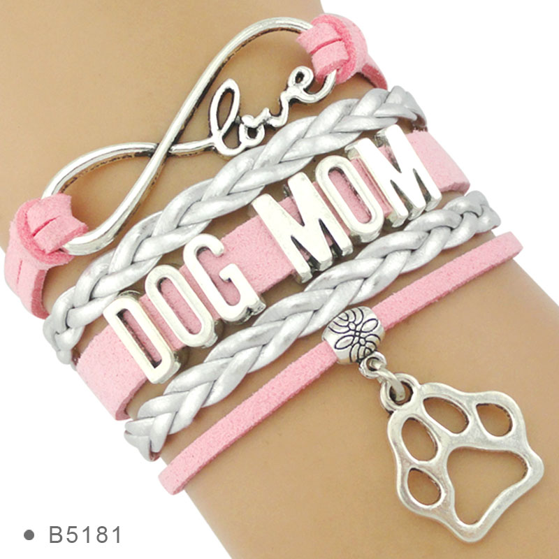 High Quality Infinity Love Multilayer Stacking Leather Wrap Dog Person Doggie <font><b>Paw</b></font> Print Dog Mom <font><b>Bracelets</b></font> for Women image