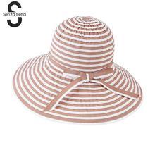 Moda rayas Bowknot Verano del sombrero del sol plegable sombrero de playa  paño suave de algodón grandes sombreros de ala ancha p. 6bb485317e4