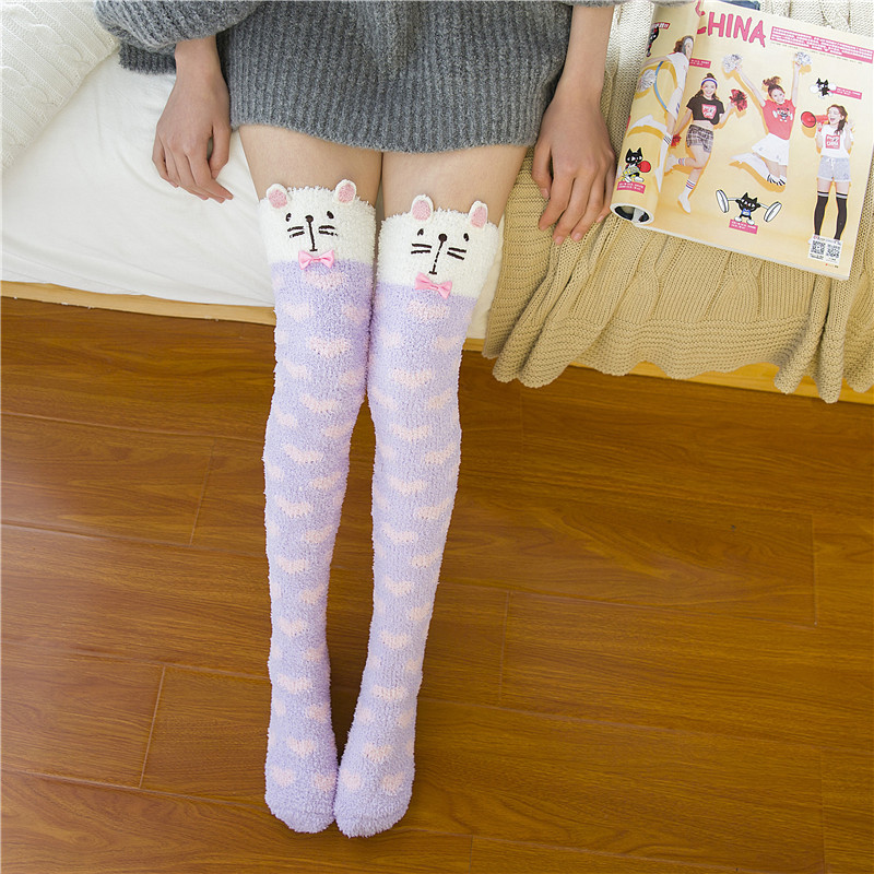 Hot Sale Girls Stockings Lovely Knee High Stocking Women Cotton Thigh High Pantyhose Autumn and Winter Warm Stocking Wholesale