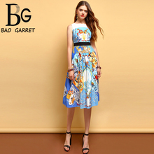 Baogarret Fashion Designer Summer Dress Womens Sleeveless Character Print High Waist Elegant Casual Vacation Midi Dresses