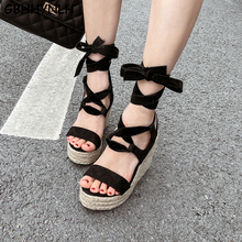 GBHHYNLH lace up shoes summer heels platform wedges shoes for women wedges pumps womens casual shoes summer wedge sandals LJA705 contract color lace up wedges design sandals