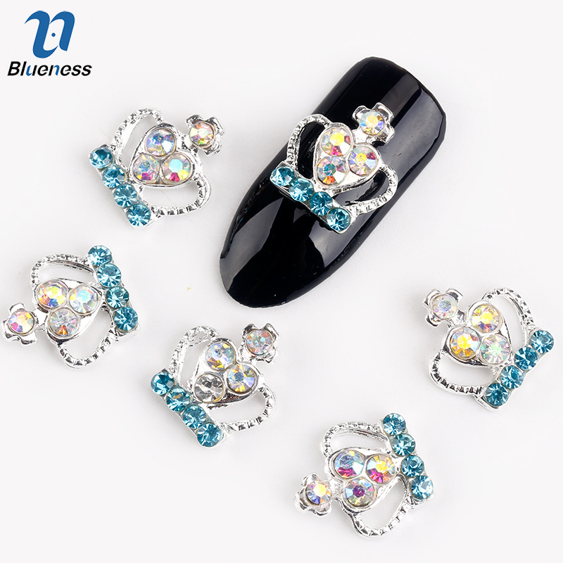 Blueness 10Pcs/Lot Silver Imperial Crown Nail Supplies AB Blue Rhinestones Studs Decoration For Charms Nails 3D Strass Nail Art blueness 10pcs 3d nail art rhinestone decoration glitter nails tips silver crown charm jewelry nail studs tools wholesales tn550