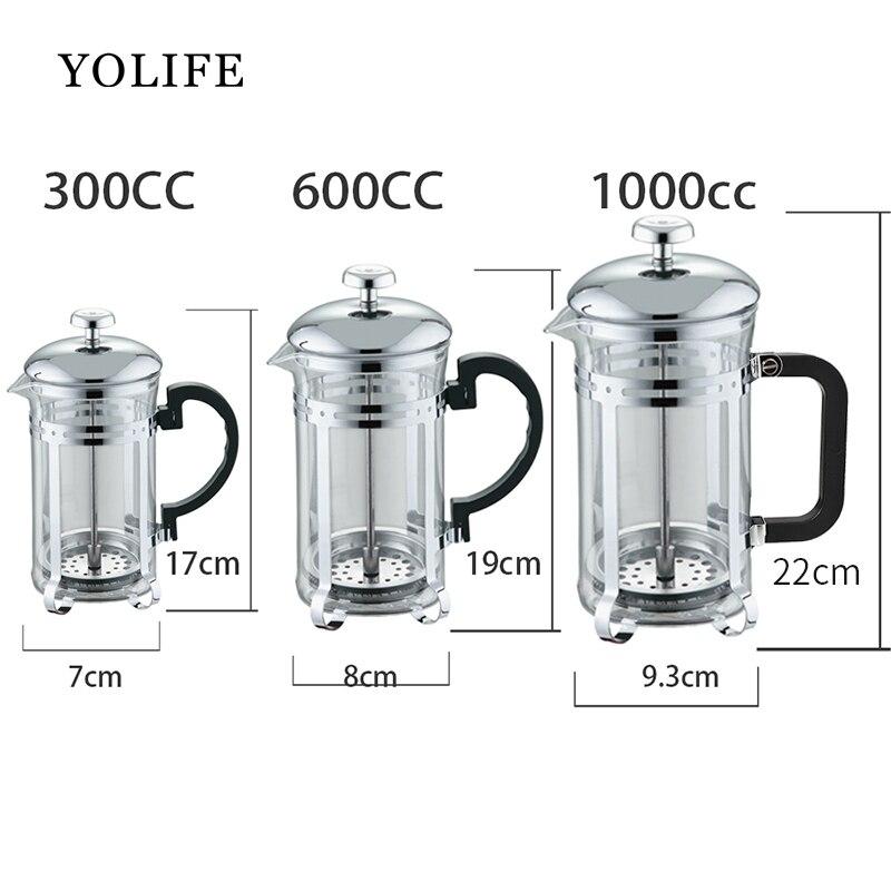 Ročni aparat za kavo Espresso za kavo iz nerjavečega jekla Steklo - Kuhinja, jedilnica in bar