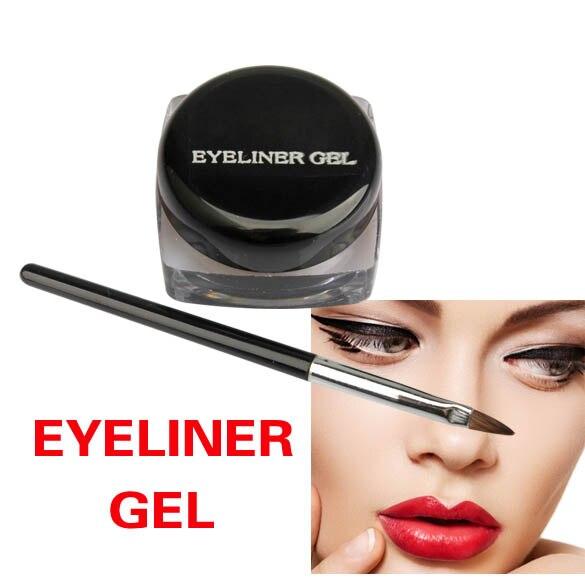 1 Set Black Waterproof Eye Liner Eyeliner Gel Makeup Cosmetic + Brush Black Liquid Eyeliner