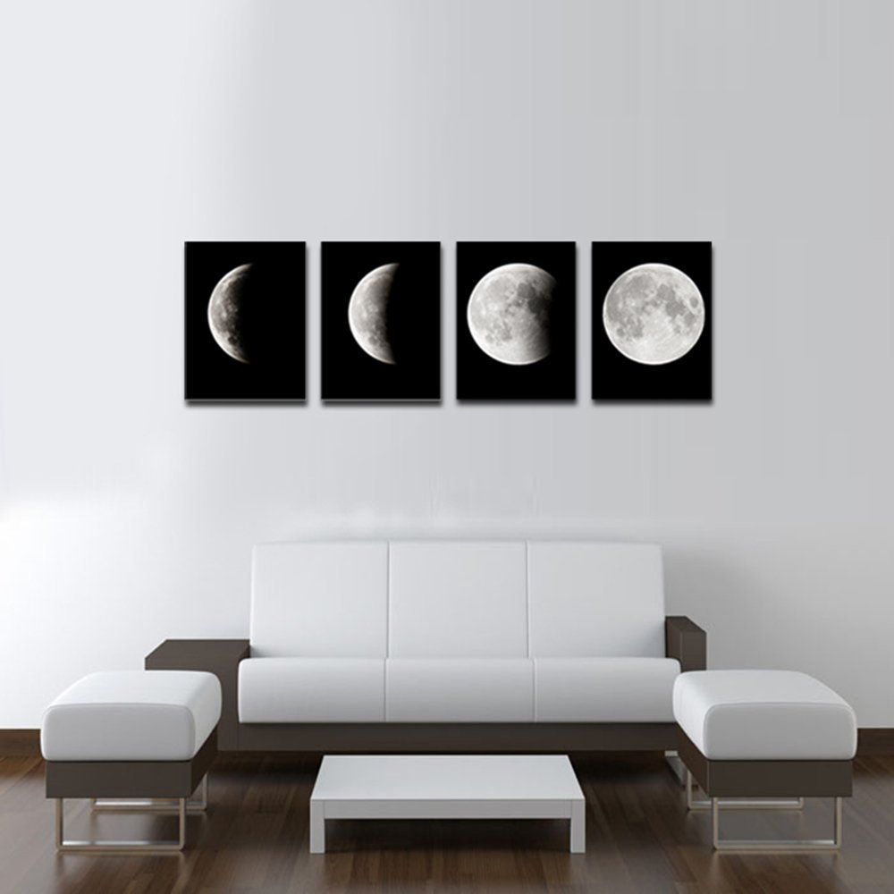 Wall Art Picture Modern Abstract Space Print on Canvas Wall Decor Black and White Pictures Lunar Eclipse Prints Artwork no frame