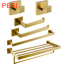цены PESI Bathroom Accessories Toilet Paper Tissue Holder  Robe Coat Hook Towel Ring Rack Bar Shelf  Hardware Set,PVD Zirconium Gold.