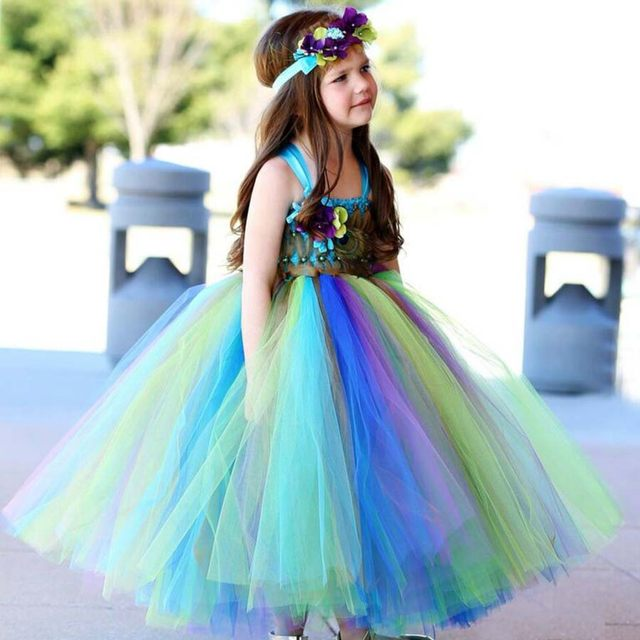 ... Fairy Peacock Girls Tutu Dress Kids Holiday Party Pageant Ball Gown  Flower Girls Dress Wedding Dress 67917cf31afb