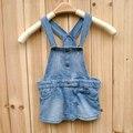 Venta caliente gran marca vestidos del bebé newbron denim dress vestido de tirantes ocasional del bebé ropa de bebé envío gratis