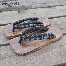 WHOHOLL Men Japanese Geta Sandals Wooden Clogs Rubber-bottomed Slippers Mens Flip-flops Rubber Paulownia Flat
