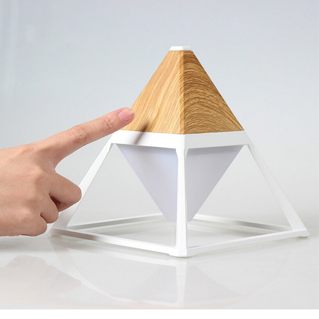 Pyramid Desk Lamp with USB Charging Port Touch Control Adjustable Brightness Waterproof Rechargeable 2000mA Light