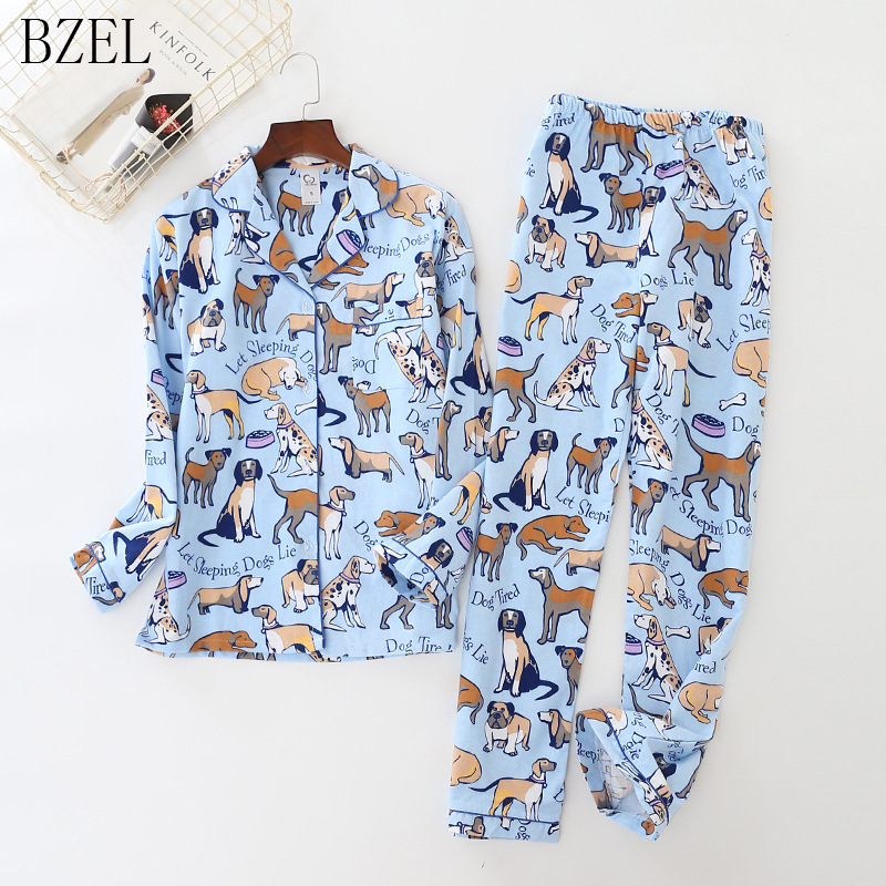 BZEL Womens Pajamas Sets 100% Cotton Long-Sleeve Cute Cartoon Dog Pajamas Sleepwear Turn-down Collar Women Sexy Summer Homewear