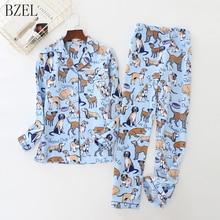 Bzel Womens Pyjama Sets 100% Katoen Lange Mouwen Leuke Cartoon Hond Pyjama Nachtkleding Turn Down Kraag Vrouwen Sexy zomer Homewear