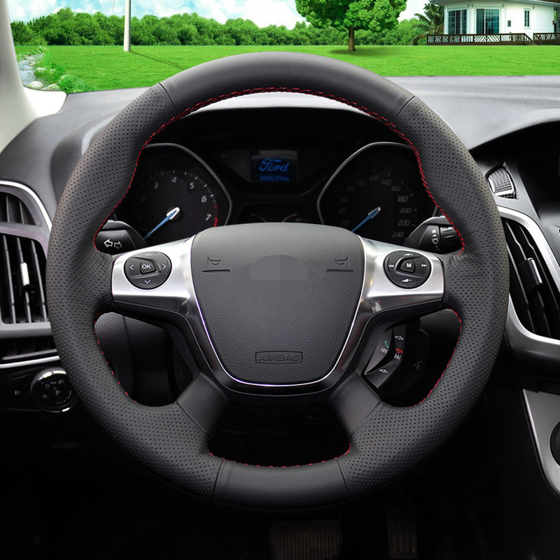 Image 2 - Black Soft Artificial Leather Car Steering Wheel Cover for Ford Focus 3 2012 2014 KUGA Escape 2013 2016-in Steering Covers from Automobiles & Motorcycles