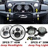Пара Серебряный 7 ''дюймовый Harley светодиодные фары H4 drl высокой/ближнего света + 4'' LED туман лампы лампы авто фар для Jeep Wrangler JK CJ