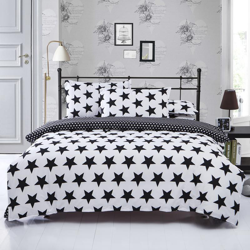 Black White Stripe Plaid Print Bedding Sets 2 3pcs Single