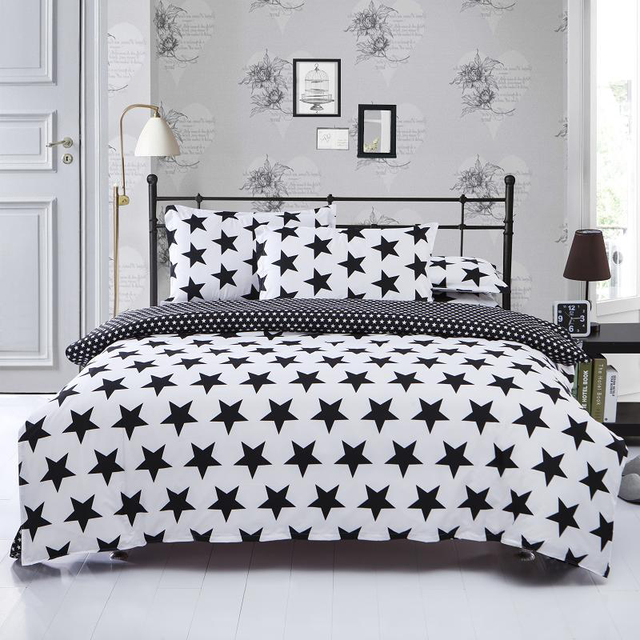 fae44c7b339 Black White Stripe plaid print Bedding Sets 2 3pcs Single Queen King  Bedclothes Bed Linen Duvet Cover Set(No Sheet No Filling)-in Bedding Sets  from ...