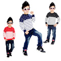 Free shipping spring/autumn new arrival Boy's T-shirt long sleeve children cotton coat round collar stripe fleece