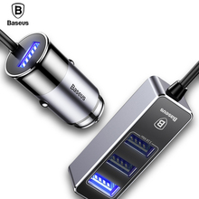 Baseus 5.5A 4 Ports USB Car Charger Multiple Expander Car-charger Adapter Fast Charge Mobile Phone Charger For iPhone x Samsung