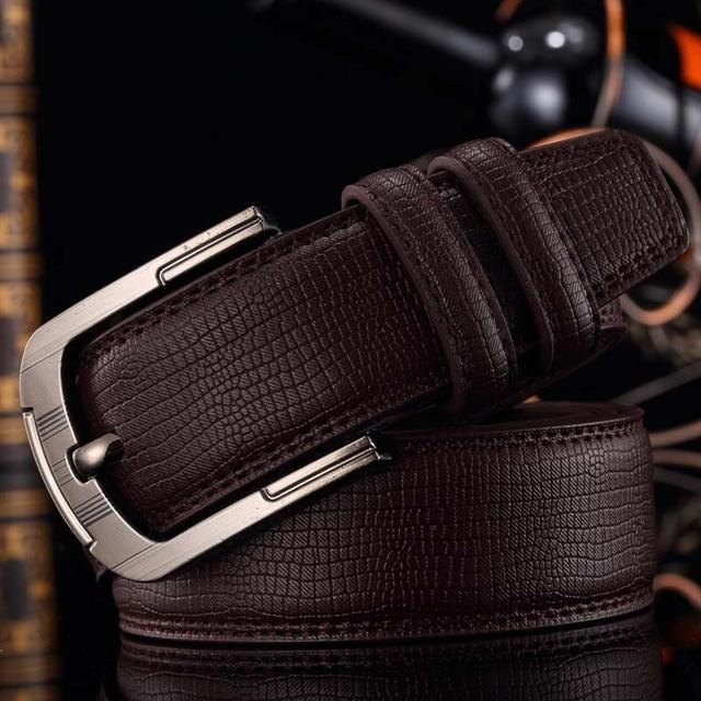 Blackcattleメンズ古典的なファッションドレスベルト本革高品質バックルストラップ高級ベルト