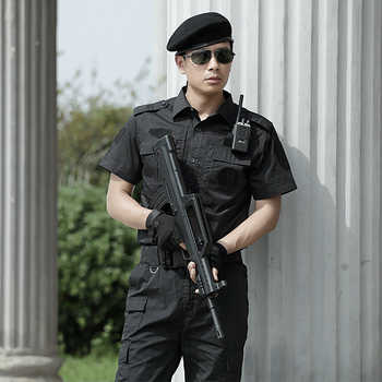 Hunting Clothing Black Military Tactical Combat Uniforms Policemen Suit Mens Short Sleeve Outfit Clothes Breathable CS