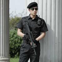 Ropa de caza, uniforme de combate táctico militar negro, traje de policía para hombre, traje de manga corta, ropa transpirable CS