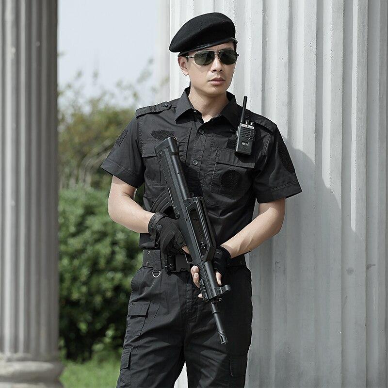 где купить Outdoor Hunting Clothing Black Military Tactical Combat Uniforms Suit Mens Summer Short Sleeve Outfit Clothes Breathable CS Sets по лучшей цене