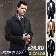 2016 случайных Breasted мужская Пальто Бесплатная доставка Оптовые уникальный тонкий верхняя одежда долго дизайн двубортный шерстяное пальто