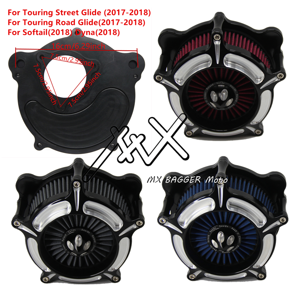 RSD Motorcycle Chrome Turbine Air Cleaner Intake Filter Kit For Harley Touring 2017 2018 Softail 2018 Dyna 2018 Gray Blue Red Harley-Davidson Sportster