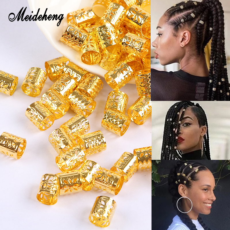 Meideheng Metal Carved Golden Silver Hair Rings Beads Tubular Adjustable Decoration Clips Accessories For Dreadlocks Braid