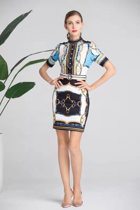 Partie Robe Qualité Marque Mode Supérieure Nouvelle Printemps 2019 Luxe Européenne Ah03318 Design De Célèbre Style Femmes FCpq6qS