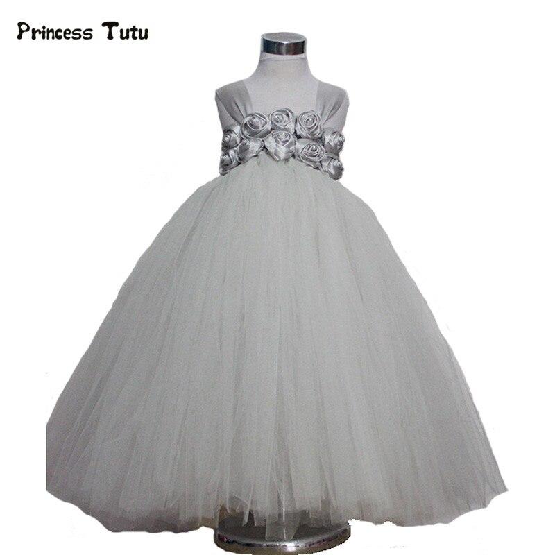 Handmade Tulle Flower Girl Tutu Dress Gray White Princess Dress Kids Party Wedding Dress Children Pageant Performance Ball Gown