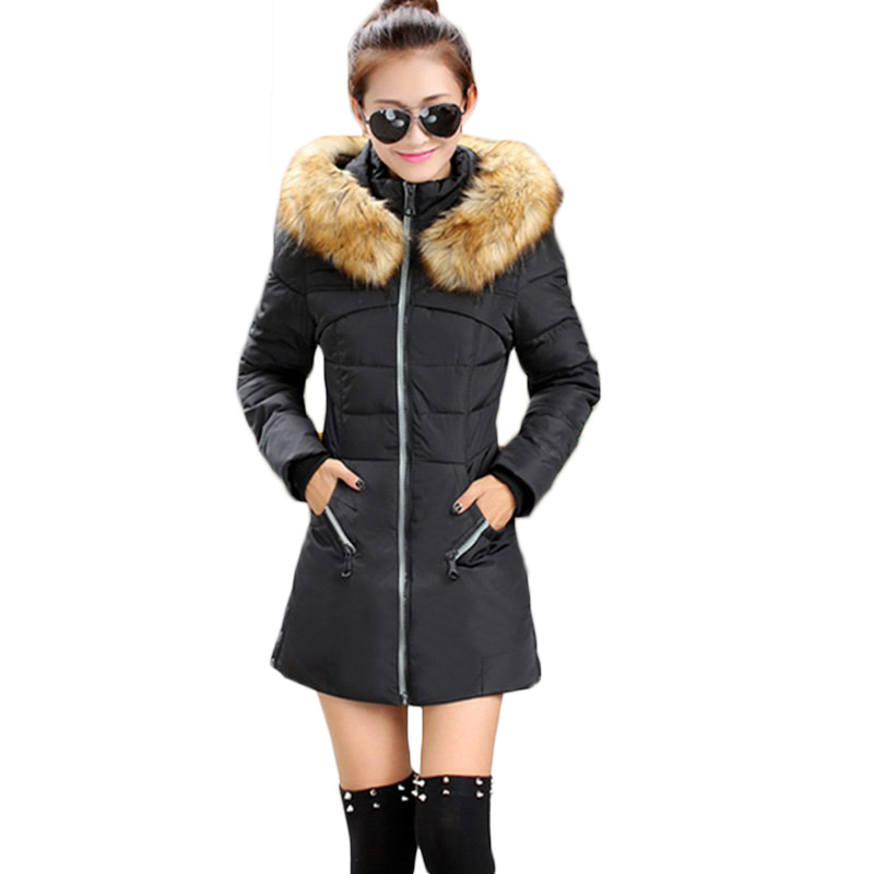2017 New Women Winter jacket Fashion Fur Collar Thickening Cotton down clothing Zipper Casual Warm Coat Down &   Parkas   LD114